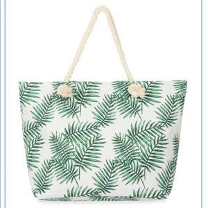 Palm Leaf Canvas Tote Bag with Thick Rope Handle